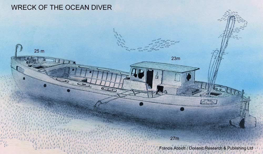Buceo en pecios, Naufragio del buceador oceánico, Menorca. Wreck of the ocean diver, Menorca, wreck diving