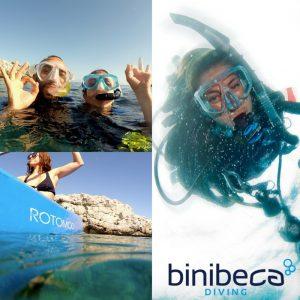 excursiones snorkel y kayak en menorca binibeca, snorkel and kayak excursions in Menorca Binibeca