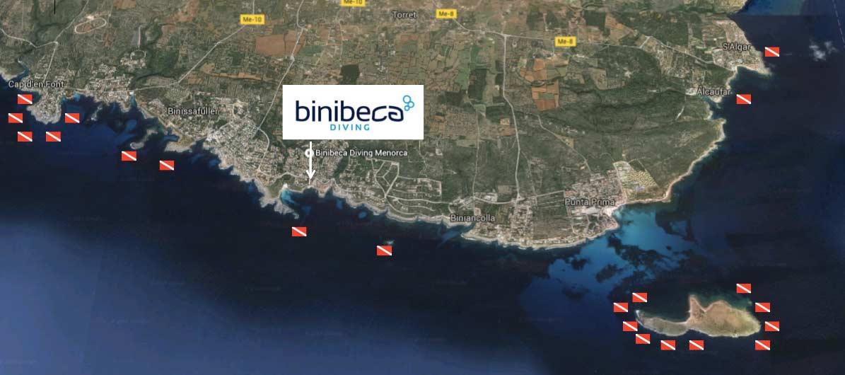 Puntos de buceo en Menorca, Diving spots in Menorca