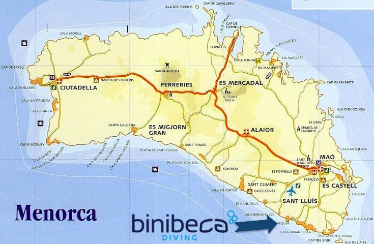 mapa de spots de buceo en Menorca